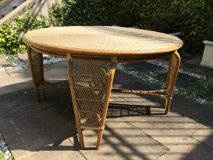 Lovely Vintage Indoor-Outdoor Cane Woven Table-Can Deliver