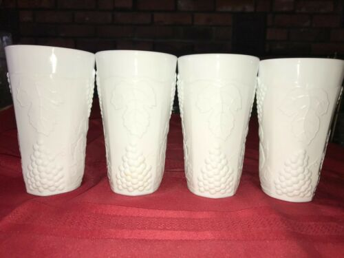 "Set of 4 Vintage INDIANA COLONY HARVEST GRAPE White Milk Glass 5¾"" Tumbler 14 oz"