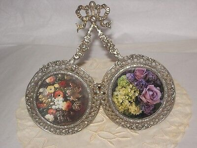 Antique French Silver double round miniature picture frame