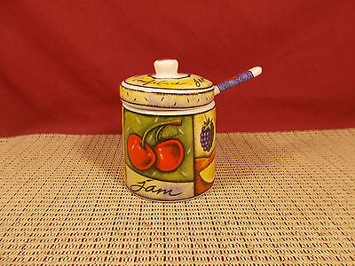 (MSC China Joie de Vivre Jam Jar with Lid & Spoon 3 1/2