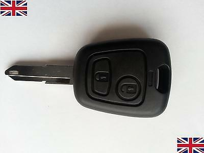 2 Button Remote Key Fob Case Shell + Uncut Blade New Repair for Peugeot 206
