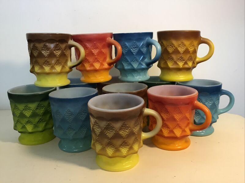 Vintage Fire King Diamond Mugs Cups 13