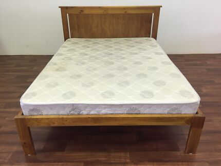 (Can Deliver) Strong Solid Wood Double Bed and Mattress