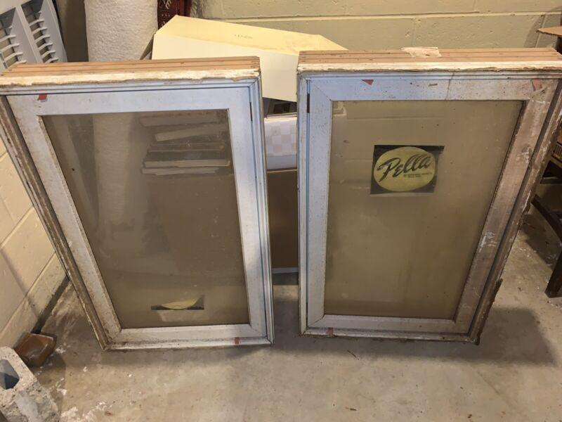 """2 X Pella Top Casement Window White 33"""" Tall X  21"""" Wide X  5"""" Deep w/ Cranks!"""