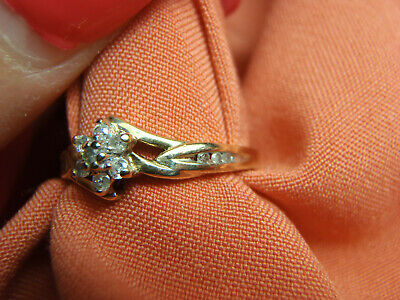Estate 10K Yellow Gold Tulip Flower Ring With 13 Diamonds .20Ct Tw Size 7  Yellow Gold Tulip