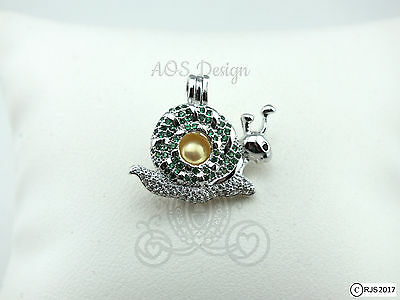 Pick A Pearl Cage Snail Green Crystal Accent Silver Plated Locket CHARM ONLY