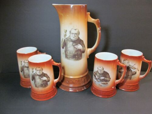 Friar Monk Porcelain Tankard Antique 5 piece BEER STEIN MUGS Oktoberfest
