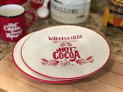 Southern Living Christmas Hot Chocolate Cocoa Winter Plates Set of 2 NIB