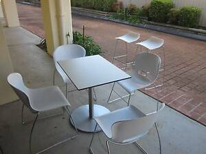 Table and four chairs white with metal legs, + two bar stools West Ryde Ryde Area Preview