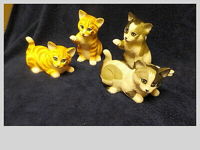4 Vtg Art Line Cats Garden Lawn Statues Tabby Stripes & Calico Kittens Figures