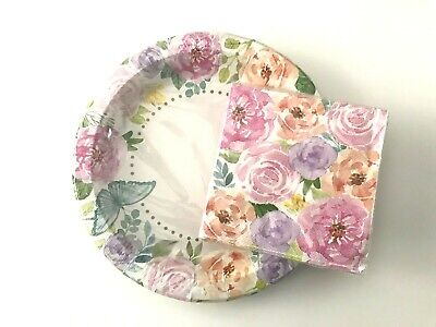 SPRING SUMMER FLOWERS TEA PARTY PLATES & NAPKINS DECORATIONS SET NEW - Tea Party Paper Plates