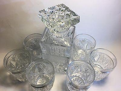 Kristallkaraffe Bleikristall  Karaffe-Likörkaraffe Whiskykaraffe +6 Likörglaser