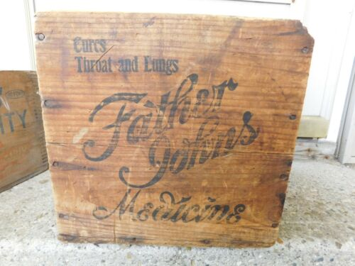 """ANTIQUE FATHER JOHNS MEDICINE WOOD CRATE """"CURES THROAT AND LUNGS"""""""