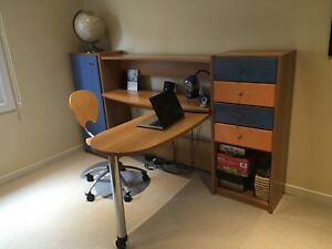 Children's desk, chair and shelving units