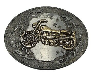 Vintage Motorcycle Harley Indian Belt Buckle Pewter Gold two tone oval stars