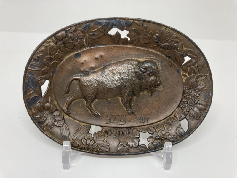 """1901 BUFFALO NY Worlds Fair STAMPED 3.5"""" Souvenir Ashtray ? w Floral COPPER CLR"""