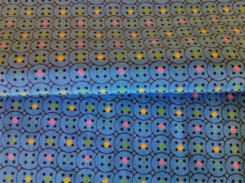 Vintage abstract silky circles fabric novelty remnant material antique