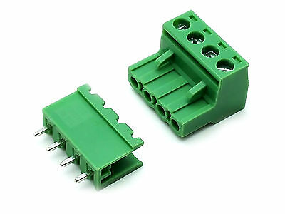Us Stock 10set 2edg 4 Pin 4p Plug-in Screw Terminal Block Connector 5.08mm Pitch