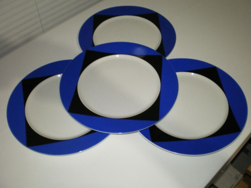 "RARE Set of 4 Block Spal Diamond Jewels Black Blue White 10.5"" Dinner Plates"