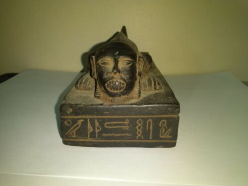 RARE ANTIQUE ANCIENT EGYPTIAN Statue Head Sitting Fish Stone 2400–2300 Bc