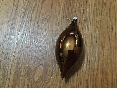 Lot 2 Martha Stewart Christmas Glass Ornament Tear Drop Brown