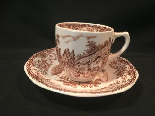 Royal Tudor Ware ~ Olde England Barker Bros Ltd. Brown Demitasse Tea Cup n Sauce