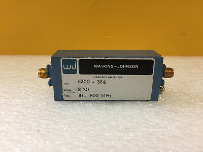 Watkins Johnson Wj 6200-384 10 To 500 Mhz 15 Vdc Sma Rf Cascade Amplifier