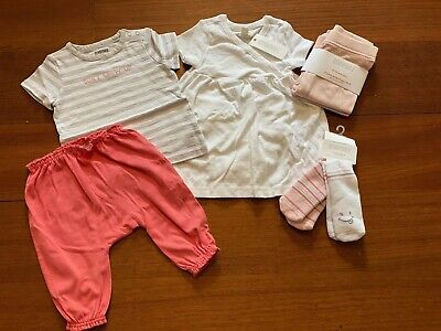 Gymboree Baby Girl Layette 7 Piece Set Pink & White 6-12 Months NWT