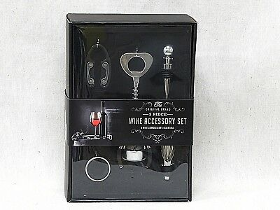 5 Piece Wine Accessory Kit The Original Brand Butterfly Corkscrew, Foil Cutter
