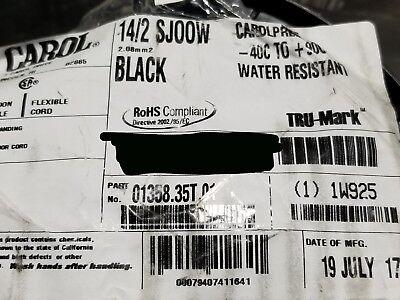 Carol 01358 142c Carolprene Sjoow 300v Portable Power Cable Cord Usa Black50ft