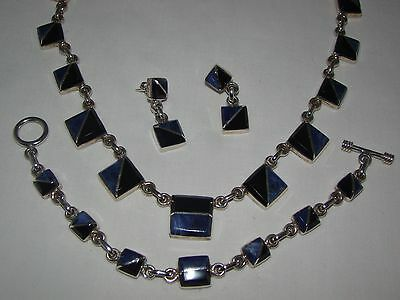 Taxco Mexico Sterling Onyx Lapis Lazuli Necklace Bracelet Earrings Heavy Set