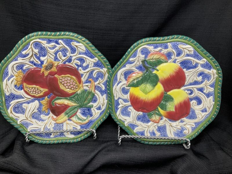 "Fitz Floyd Classics PAIR Florentine Fruit 9"" Canape Wall Plate Apple Pomegranate"