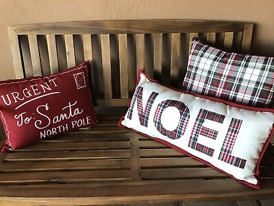China Barn NOEL PRINTED INDOOR/OUTDOOR Lumbar Pillow 12 X 25 NWT - Christmas