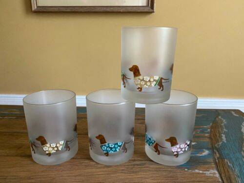 NEW Set of 4 - Culver Satin Frosted Glass Dachshund DOGS Hawaiian