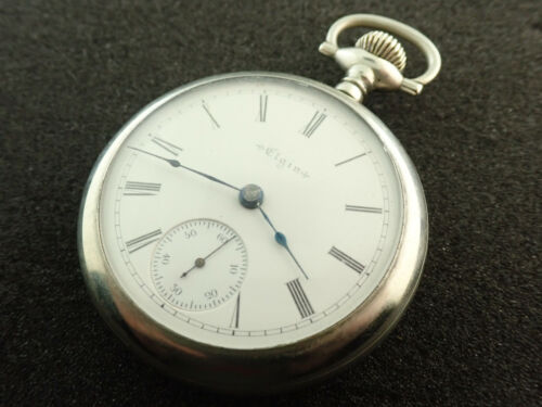 VINTAGE 18 SIZE ELGIN OPEN FACE POCKET WATCH GRADE 73 - KEEPING TIME - FROM 1898