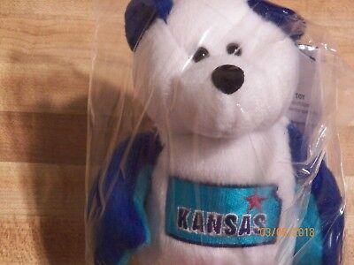 Kansas Quarter Beanie Bear 34th State Collectible Stuffed Coin Bear retired new