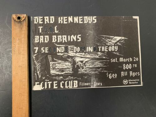 Vtg DEAD KENNEDYS Punk Concert Flyer TSOL Bad Brains Elite Club San Francisco