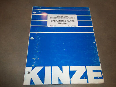 Kinze 1500 Conservation Cultivator Operator Parts Manual Loose Leaf Only