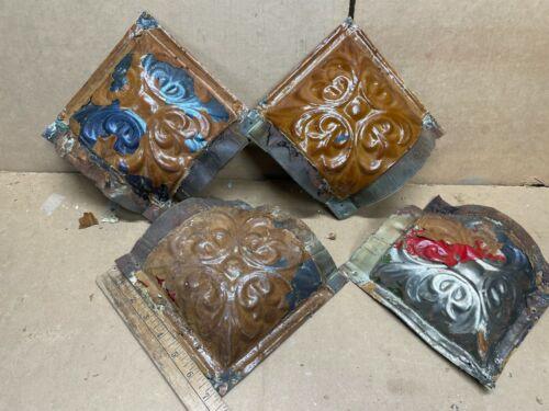 4pc lot Med Corner Pieces Antique Ceiling Tin Metal Reclaimed Salvage Art Craft