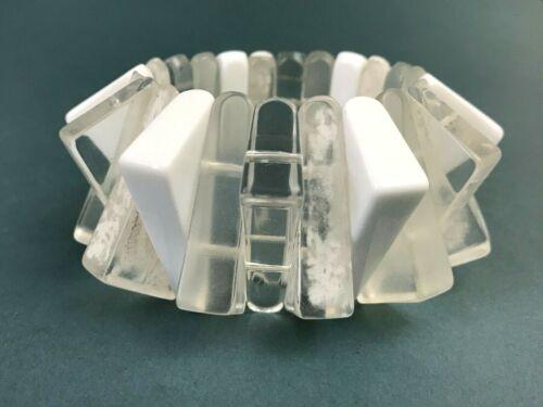 VTG Judith Hendler Geometric Lucite Bar Modernist Plastic Stretch Bracelet White