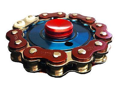Bike Chain Fidget Hand Spinner Finger Toy Focus Gyro - Blue/Red