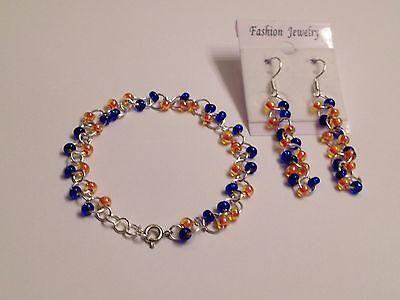 Florida gator Czech glass bead chainmaille bracelet earring set sterling silver