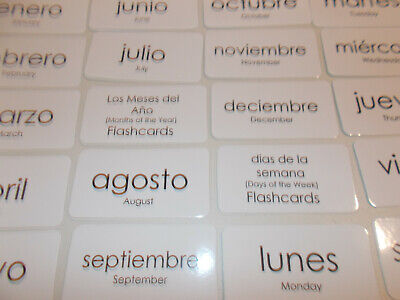 19 Days of the Week and Months of the Year Flash Cards in Spanish.  Foreign Lang - The Week In Spanish