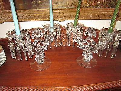 Pair of Cambridge Caprice Double Candelabras with Prisms