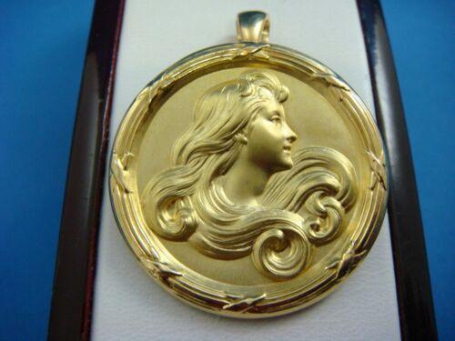 "ART NOUVEAU FRENCH 18K GOLD ""Bijou Medaille"" CIRCLE PENDANT-BROOCH, 11.4 GRAMS"