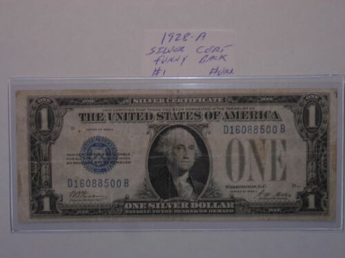 $1 DOLLAR 1928-A ONE DOLLAR BILL BLUE SEAL FUNNYBACK SILVER CERTIFICATE NOTE