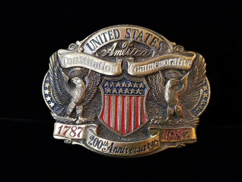 "Vintage 1987 Brass Belt Buckle ""USA Constitution 200th Anniversary"" 1787-1987"