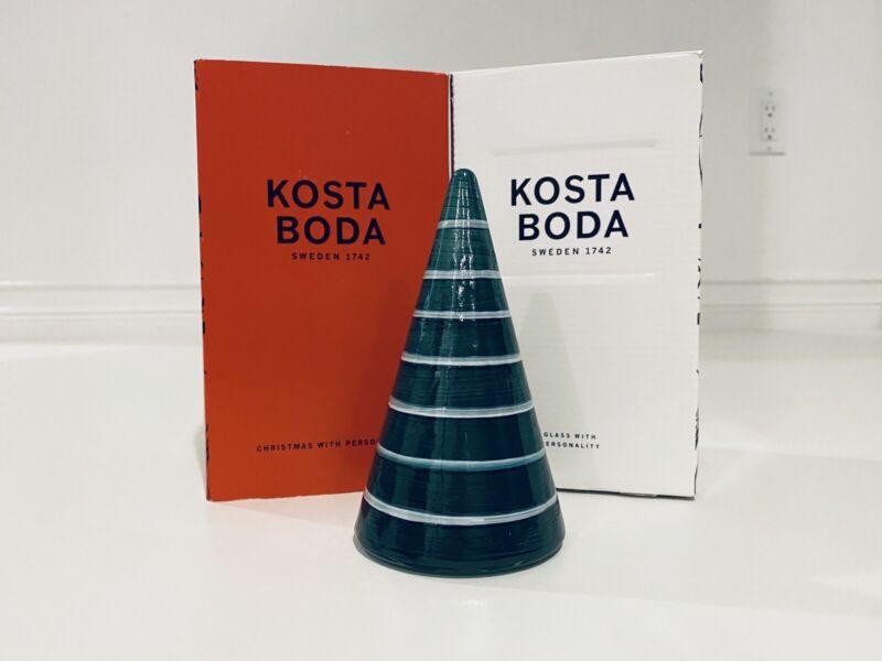 Kosta Boda Noel Green With White Stripes Glass Tree