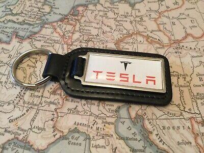 Tesla Impresa Calidad Piel Auténtica Negro Llavero Mando Llave Modelo S T X De