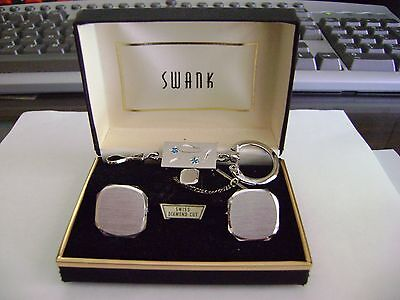 Diamond Set Tie Pin - VINTAGE SWANK BOXED CUFFLINKS, TIE PIN AND A KEY CHAIN SET,